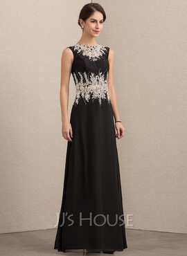 A-Line/Princess Scoop Neck Floor-Length Chiffon Lace Mother of the Bride Dress With Beading (008152145)