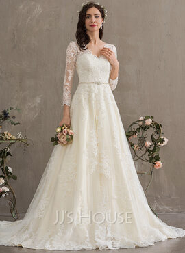 Ball-Gown/Princess V-neck Chapel Train Tulle Wedding Dress With Beading Sequins (002186372)