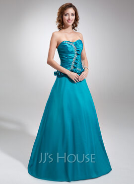 A-Line/Princess Sweetheart Floor-Length Taffeta Quinceanera Dress With Ruffle Beading (021025996)