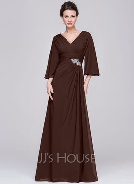 A-Line/Princess V-neck Floor-Length Chiffon Mother of the Bride Dress With Ruffle Beading Sequins (008058390)