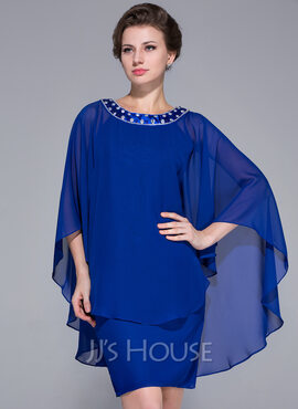 Sheath/Column Scoop Neck Knee-Length Chiffon Mother of the Bride Dress With Beading (008025716)
