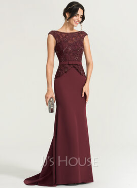 Trumpet/Mermaid Scoop Neck Sweep Train Stretch Crepe Evening Dress With Beading Bow(s) (017167693)