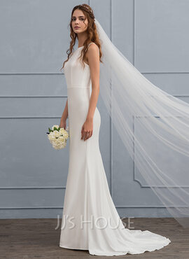 Trumpet/Mermaid Scoop Neck Sweep Train Jersey Wedding Dress