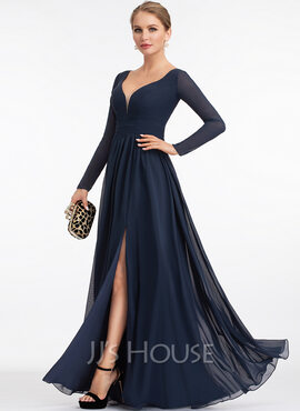 A-Line V-neck Floor-Length Chiffon Prom Dresses With Split Front (018221176)