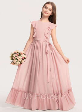 A-Line Scoop Neck Floor-Length Chiffon Junior Bridesmaid Dress With Bow(s) Cascading Ruffles (009208605)