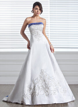 Ball-Gown Strapless Court Train Satin Wedding Dress With Embroidered Sash Beading (002005281)