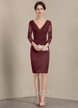 Sheath/Column V-neck Knee-Length Satin Lace Mother of the Bride Dress With Beading
