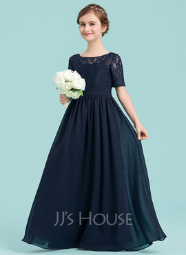 A-Line/Princess Scoop Neck Floor-Length Chiffon Junior Bridesmaid Dress (268177182)