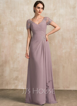 A-Line V-neck Floor-Length Chiffon Lace Mother of the Bride Dress With Beading Sequins Cascading Ruffles (008204915)