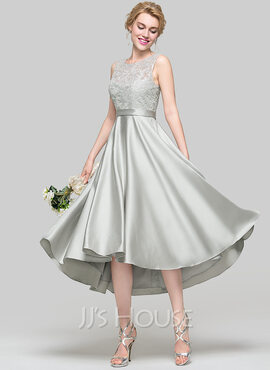 A-Line Scoop Neck Asymmetrical Satin Bridesmaid Dress (007090173)