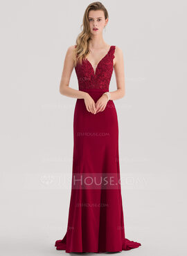 Trumpet/Mermaid V-neck Sweep Train Stretch Crepe Prom Dresses With Beading