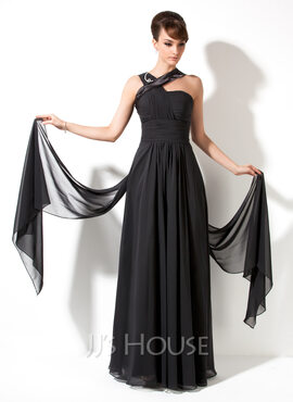 A-Line V-neck Sweep Train Chiffon Holiday Dress With Ruffle (020036588)