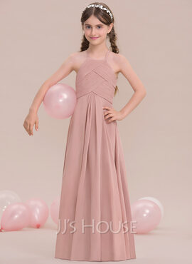 A-Line Scoop Neck Floor-Length Chiffon Junior Bridesmaid Dress With Ruffle (009119576)