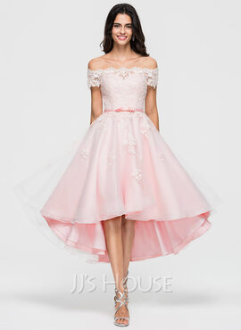 A-Line Off-the-Shoulder Asymmetrical Organza Homecoming Dress With Lace Beading Bow(s) (022164846)