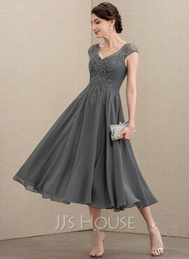 A-Line V-neck Tea-Length Chiffon Lace Mother of the Bride Dress With Beading Sequins (008195381)
