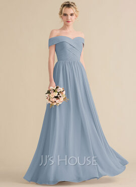A-Line Off-the-Shoulder Floor-Length Chiffon Bridesmaid Dress With Ruffle (007144733)