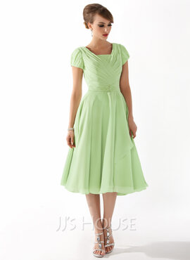 A-Line Square Neckline Knee-Length Chiffon Mother of the Bride Dress With Ruffle Beading (008005918)