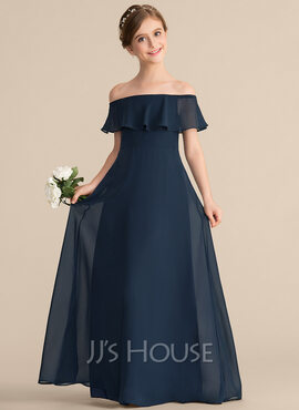 A-Line Off-the-Shoulder Floor-Length Chiffon Junior Bridesmaid Dress With Cascading Ruffles (009165021)