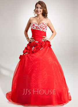 Ball-Gown Sweetheart Floor-Length Organza Quinceanera Dress With Beading Appliques Lace Flower(s) (021016389)