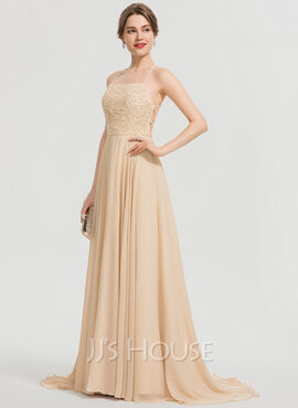 A-Line Square Neckline Sweep Train Chiffon Prom Dresses With Beading Sequins (018192357)