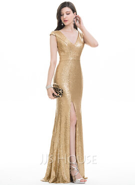 Trumpet/Mermaid V-neck Floor-Length Sequined Prom Dresses With Split Front