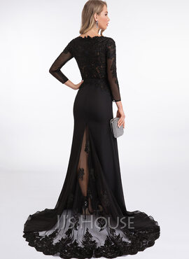 Trumpet/Mermaid V-neck Sweep Train Chiffon Evening Dress With Beading (017198676)