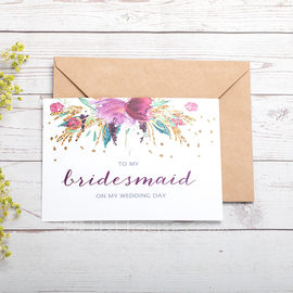 Bridesmaid Gifts - Card Paper Wedding Day Card (256184490)