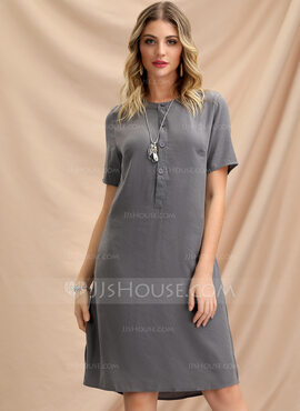 Polyester With Button/Resin solid color Knee Length Dress (199208285)