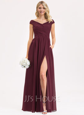 A-Line Off-the-Shoulder Floor-Length Chiffon Prom Dresses With Ruffle Split Front Pockets (018229932)