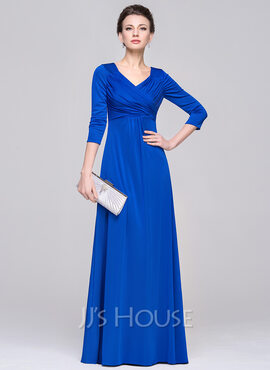 Empire V-neck Floor-Length Jersey Evening Dress With Ruffle (017092339)