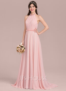 A-Line/Princess Halter Sweep Train Chiffon Bridesmaid Dress With Bow(s) Cascading Ruffles (007126461)