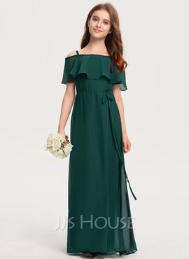 A-Line Off-the-Shoulder Floor-Length Chiffon Junior Bridesmaid Dress With Bow(s) (009208592)