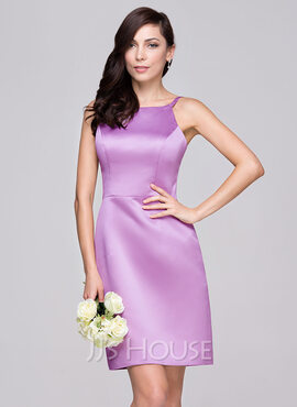 Sheath/Column Scoop Neck Knee-Length Satin Bridesmaid Dress (007060615)
