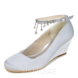 Women's Satin Wedge Heel Closed Toe Pumps Wedges With Buckle Rhinestone