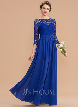 A-Line Scoop Neck Floor-Length Chiffon Lace Bridesmaid Dress With Bow(s) (007176748)