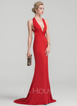 Trumpet/Mermaid V-neck Sweep Train Jersey Prom Dresses (018138545)