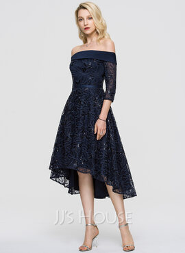 A-Line Off-the-Shoulder Asymmetrical Lace Cocktail Dress With Sequins (016198249)