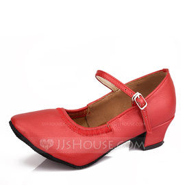 Women's Leatherette Ballet With Buckle Dance Shoes (053107724)