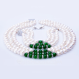 "Charming Pearl/Jadeite/""A-"" Level Pearl Ladies' Jewelry Sets (011054438)"