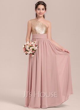 A-Line One-Shoulder Floor-Length Chiffon Junior Bridesmaid Dress With Ruffle (009130648)