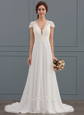 A-Line/Princess V-neck Sweep Train Chiffon Wedding Dress With Ruffle (002134554)