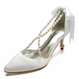Women's Satin Spool Heel Closed Toe Flats Sandals With Crystal (047174732)