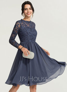 A-Line High Neck Knee-Length Chiffon Bridesmaid Dress (007224081)