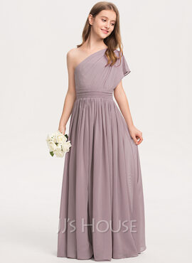 A-Line One-Shoulder Floor-Length Chiffon Junior Bridesmaid Dress With Ruffle (009208587)