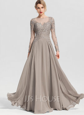 A-Line Scoop Neck Floor-Length Chiffon Prom Dresses With Beading Sequins (018192886)