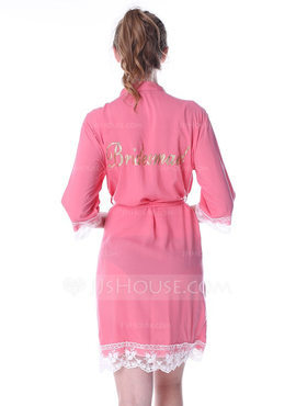Personalized Cotton Bride Bridesmaid Mom Lace Robes Glitter Print Robes (248185549)