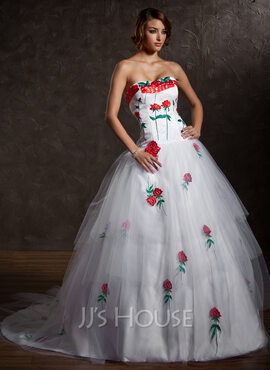 Ball-Gown Sweetheart Chapel Train Tulle Quinceanera Dress With Appliques Lace Cascading Ruffles (021027004)