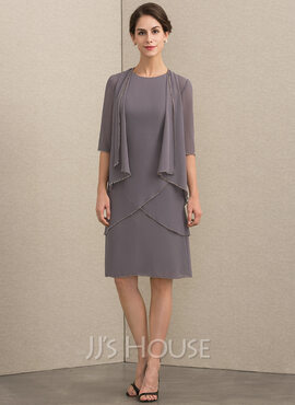 A-Line Scoop Neck Knee-Length Chiffon Mother of the Bride Dress With Sequins (008164098)