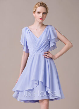 A-Line/Princess V-neck Knee-Length Chiffon Bridesmaid Dress With Cascading Ruffles (266183031)