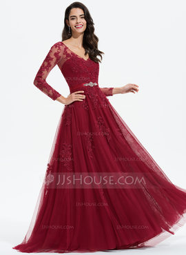 A-Line V-neck Sweep Train Tulle Evening Dress With Beading Appliques Lace (017196086)
